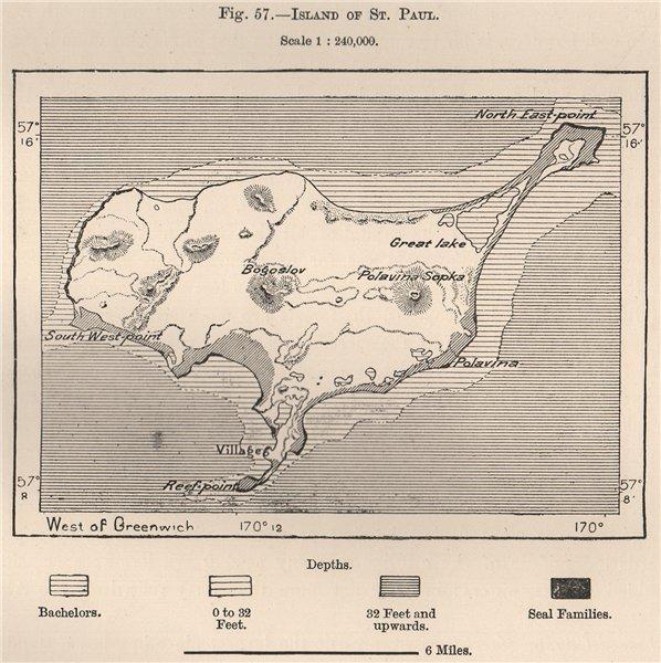 Associate Product St Paul Island,Pribilof Islands(Northern Fur Seal Islands).Alaska 1885 old map