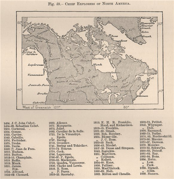 Associate Product Chief explorers of North America. Canada 1885 old antique map plan chart