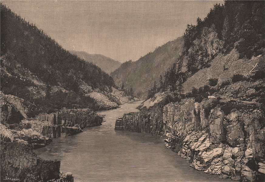 Associate Product View of Hell's Gate Gorge, Fraser River Canyon. Canada 1885 old antique print