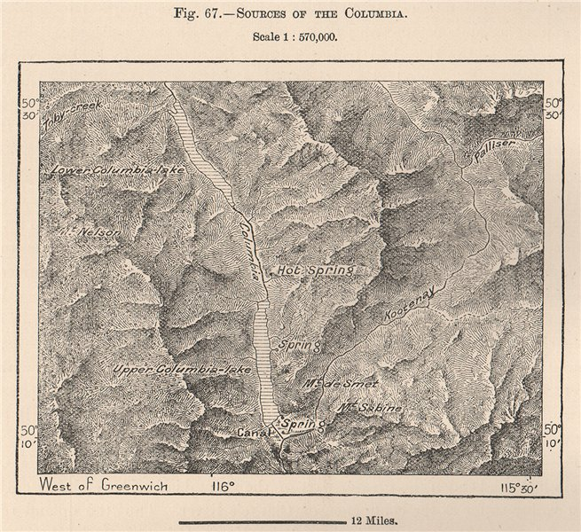 Associate Product Columbia & Windermere lakes. Fairmont Hot Springs. Canada 1885 old antique map
