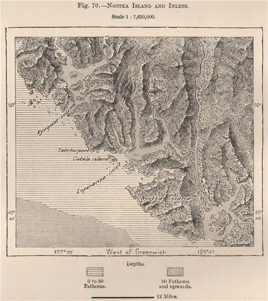 Associate Product Nootka Island and Inlets. British Columbia, Canada 1885 old antique map chart