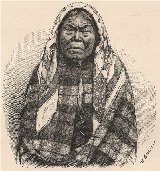 Old Nootka - Indian Woman. Canada 1885 antique vintage print picture