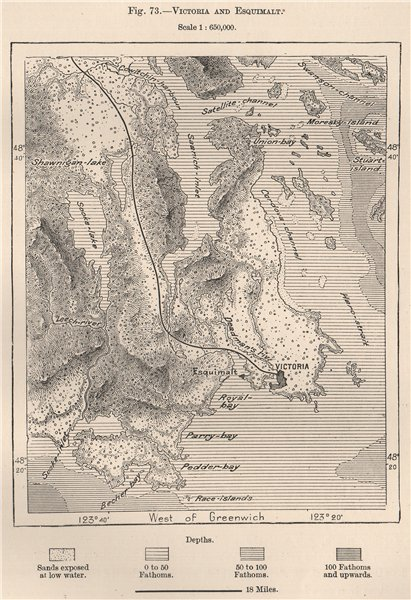 Associate Product Victoria and Esquimalt. Vancouver Island, Canada 1885 old antique map chart