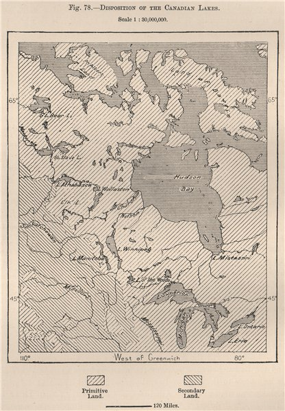 Disposition of the Canadian Lakes. Canada 1885 old antique map plan chart