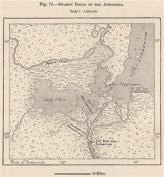 Associate Product Athabasca delta & Lake Claire. Saskatchewan. Wood Buffalo NP. Canada 1885 map