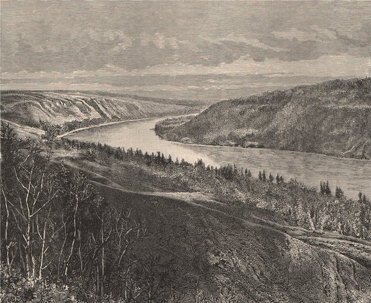 Associate Product Peace River - View taken at Fort Dunvegan, Alberta, Canada 1885 old print