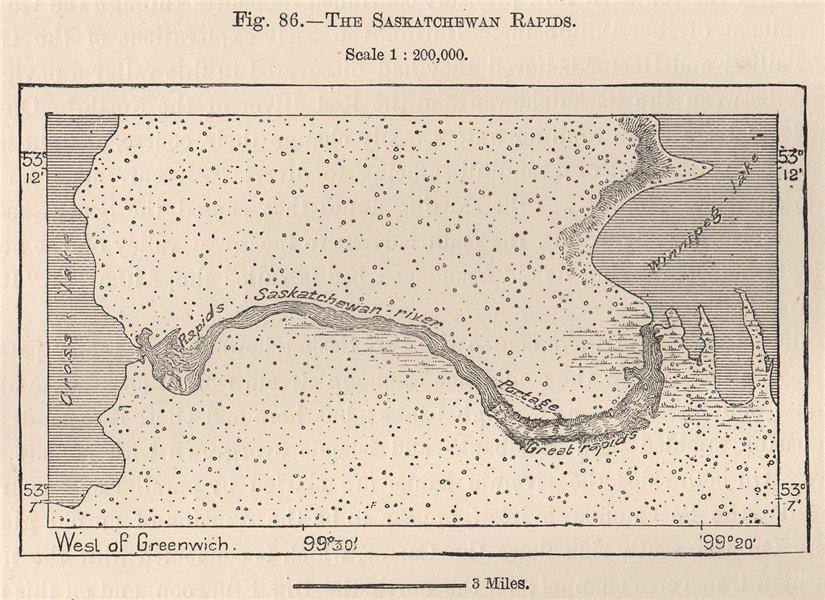 Associate Product Saskatchewan River rapids pre-dam.Grand Rapids.Lake Winnipeg.Manitoba 1885 map