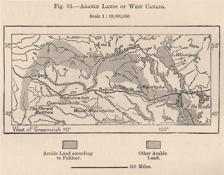 Arable lands of West Canada 1885 old antique vintage map plan chart