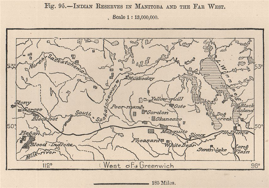 Associate Product Indian reserves in Manitoba and the far west. Canada 1885 old antique map