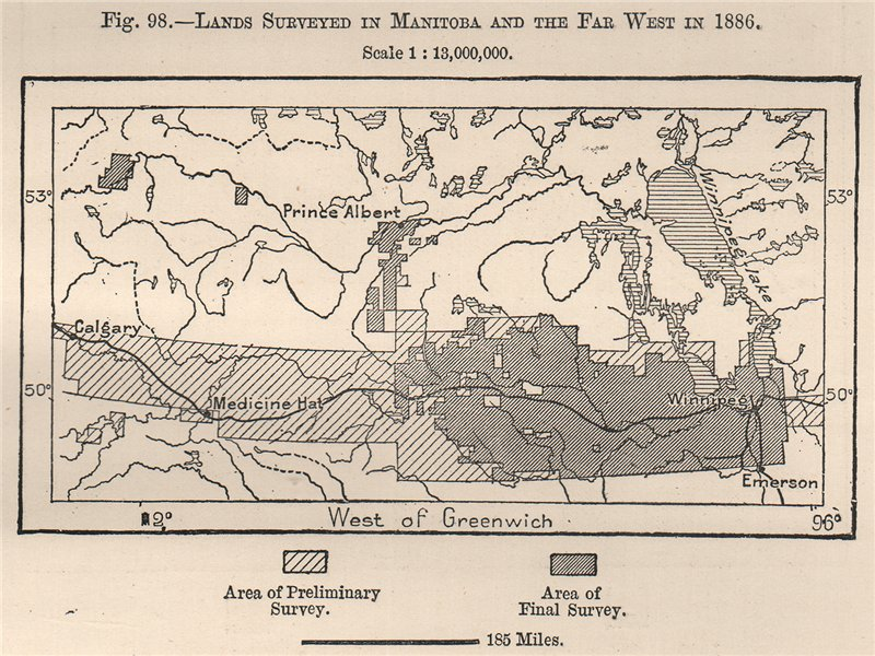 Associate Product Lands surveyed in Manitoba and the far west in 1886. Canada 1885 old map