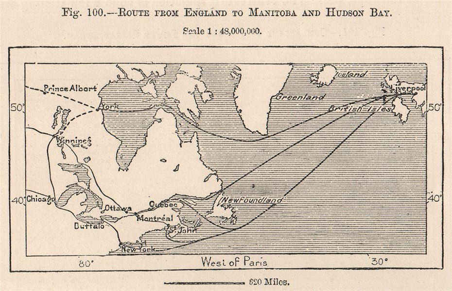 Associate Product Route from England to Manitoba and Hudson Bay. Canada 1885 old antique map