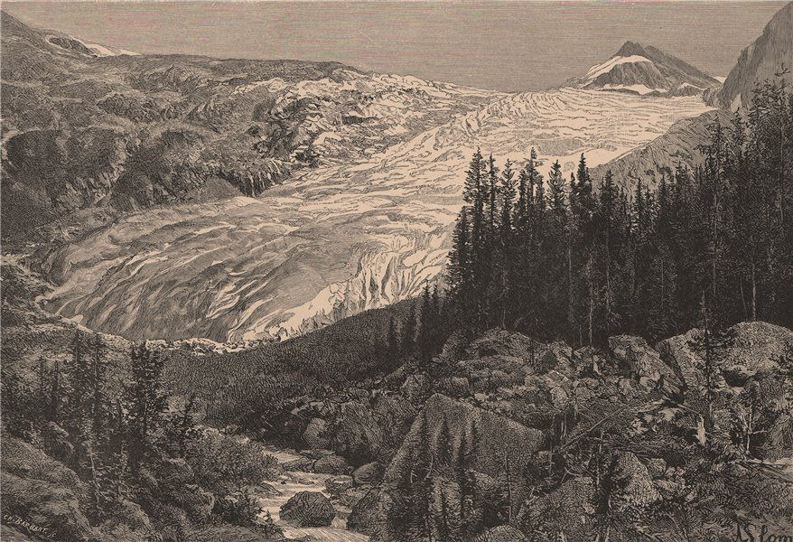 Associate Product Hector Glacier, from the Railway. Near Banff, Alberta, Canada 1885 old print