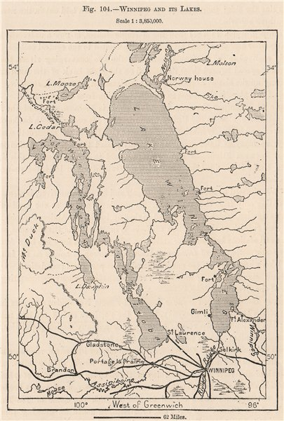 Winnipeg and its lakes. Canada 1885 old antique vintage map plan chart