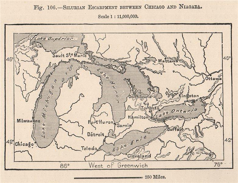 Associate Product Silurian escarpment between Chicago & Niagara. Great Lakes. Canada 1885 map