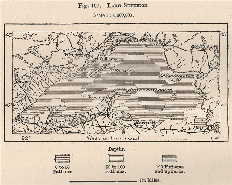 Associate Product Lake Superior. North America. Canada 1885 old antique vintage map plan chart