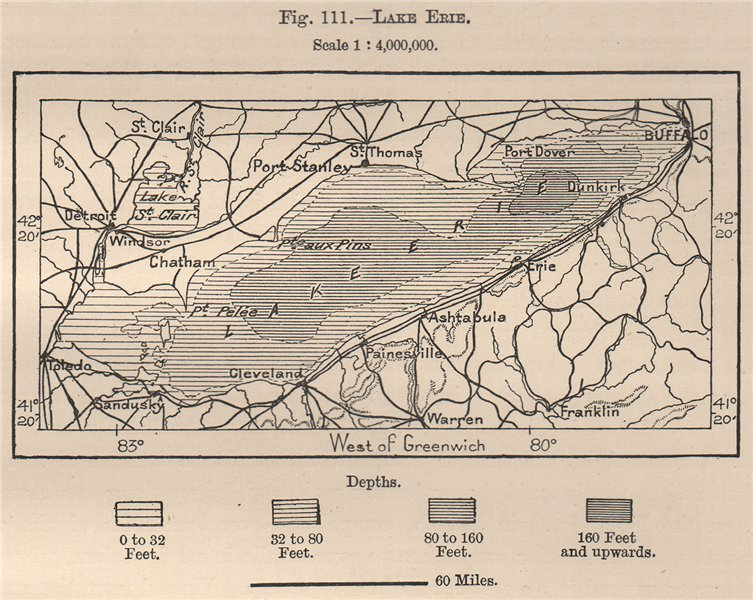 Associate Product Lake Erie. North America. Canada 1885 old antique vintage map plan chart