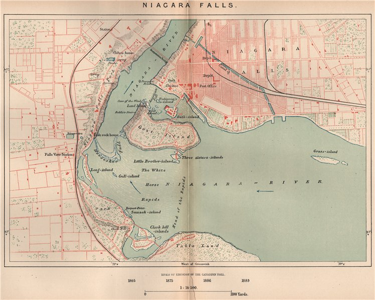 Associate Product Niagara Falls. North America. Canada 1885 old antique vintage map plan chart