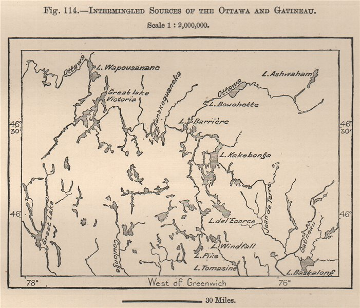 Associate Product Intermingled sources of the Ottawa and Gatineau rivers. Canada 1885 old map
