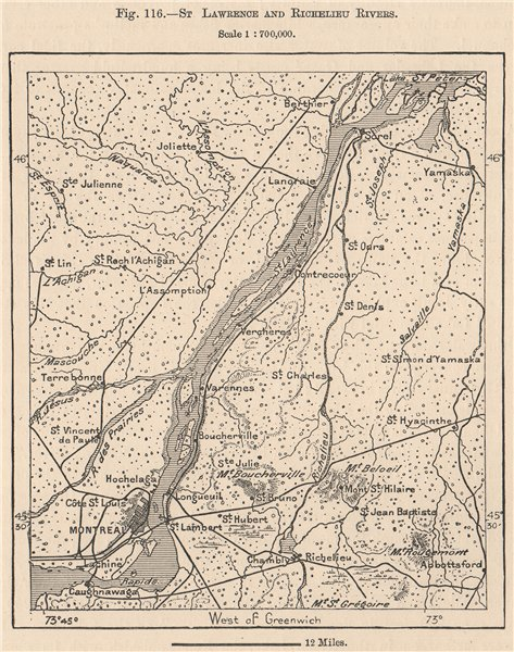 Canada Map Montreal.St Lawrence And Richelieu Rivers Montreal Quebec Canada 1885 Old