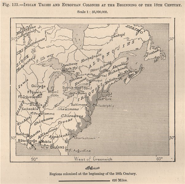 North America. Indian Tribes & European Colonies, c1700. Canada USA 1885 map