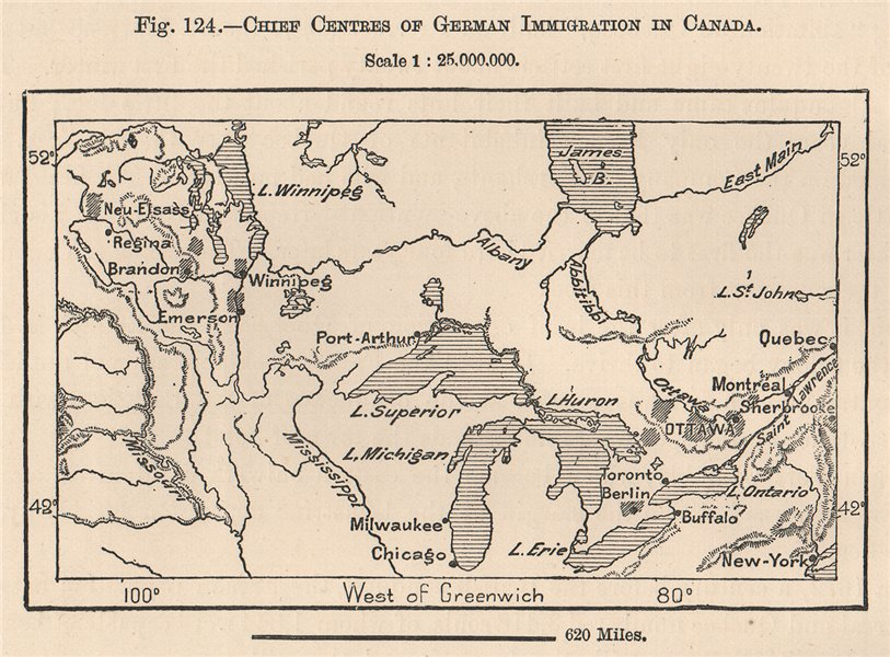 Associate Product Chief centres of German immigration in Canada 1885 old antique map plan chart