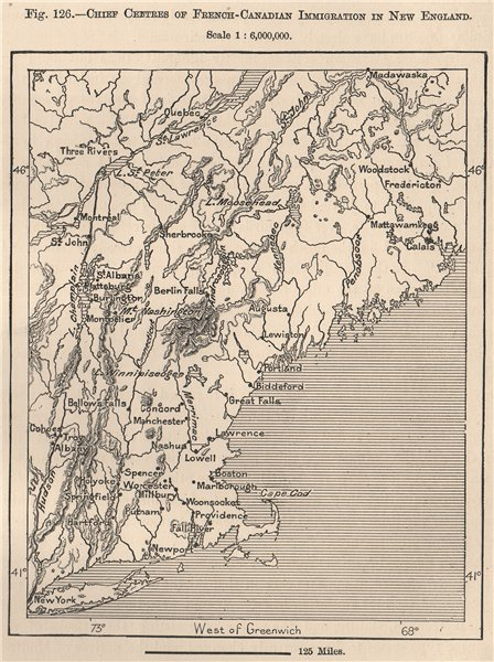 Associate Product French-Canadian immigration in New England. USA. Canada 1885 old antique map