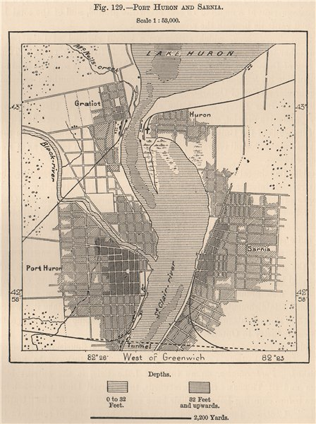 Associate Product Port Huron and Sarnia. Michigan Ontario. North America. Canada 1885 old map