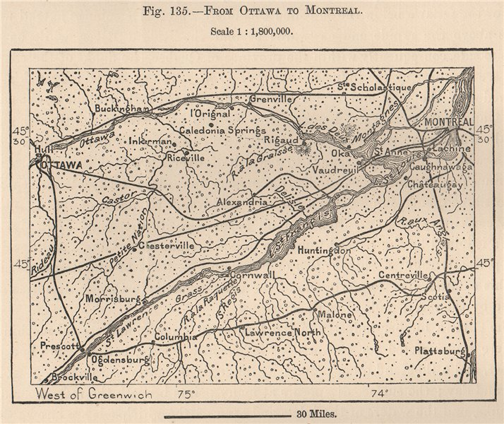 Associate Product From Ottawa to Montreal. Canada 1885 old antique vintage map plan chart