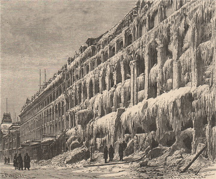Associate Product Icicles on the front of a house after a fire. Canada 1885 old antique print