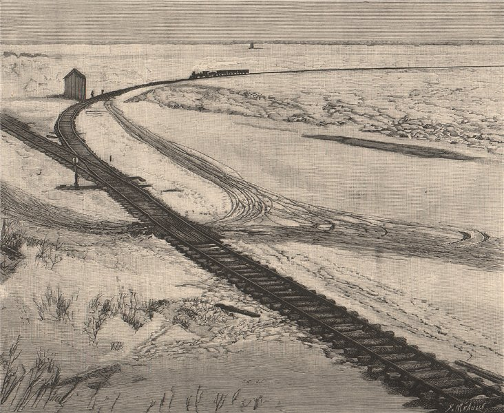 Associate Product Railway on the frozen St. Lawrence. Canada 1885 old antique print picture
