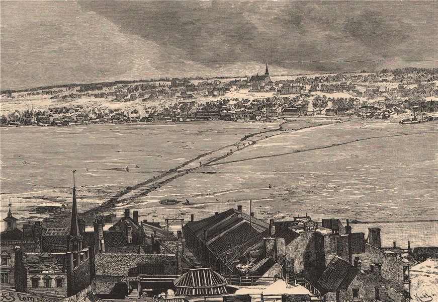 Associate Product Ice Bridge on the St. Lawrence - View from Quebec City. Canada 1885 old print