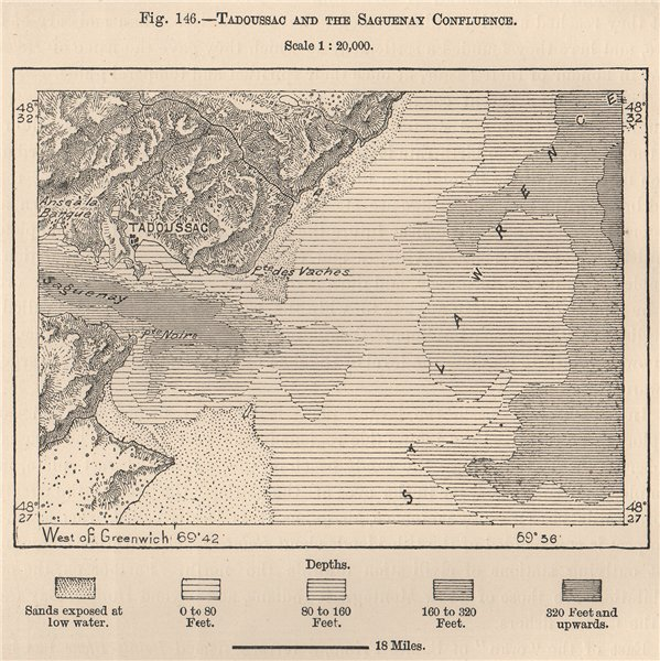 Associate Product Tadoussac and the Saguenay confluence. Quebec, Canada 1885 old antique map