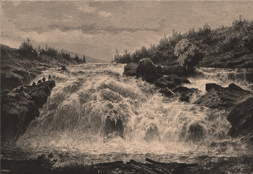 Associate Product Falls of the Chicoutimi, near the Saguenay confluence. Canada 1885 old print