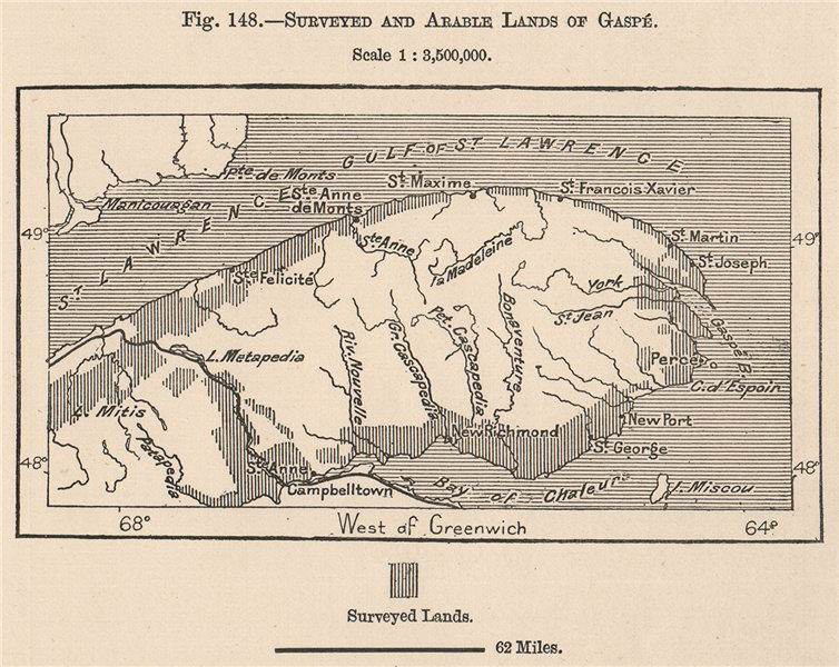 Associate Product Surveyed and Arable lands of Gaspé. Canada 1885 old antique map plan chart