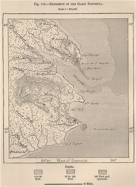 Associate Product Extremity of the Gaspé Peninsula. Canada 1885 old antique map plan chart