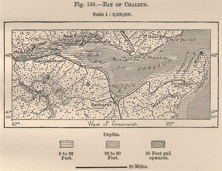 Associate Product Bay of Chaleur. Baie des Chaleurs. Canada 1885 old antique map plan chart