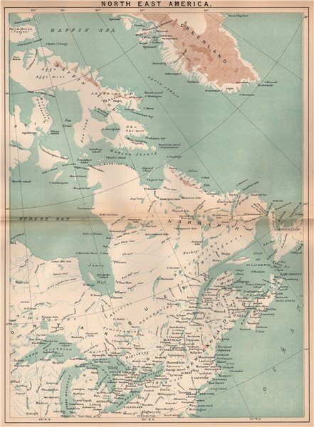 Associate Product North East America. Canada Maritimes. Great Lakes. New England 1885 old map