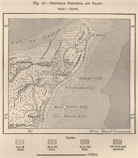 Associate Product Shippagan Peninsula.Lameque & Miscou Islands.Tracadie.New Brunswick 1885 map