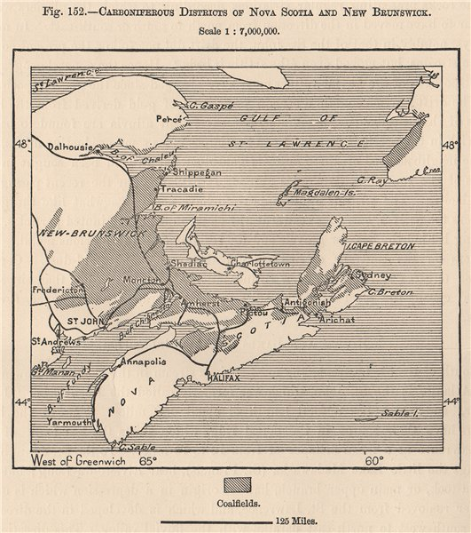 Associate Product Carboniferous districts of Nova Scotia and New Brunswick. Canada 1885 old map