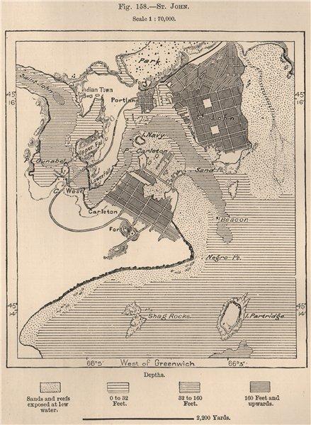 St. John, New Brunswick. Canada 1885 old antique vintage map plan chart