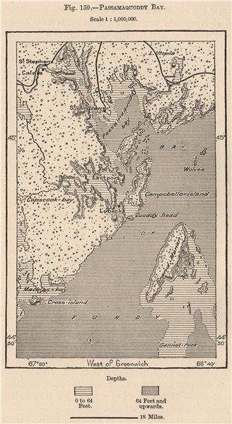 Associate Product Passamaquoddy Bay. Maine. New Brunswick. Canada 1885 old antique map chart