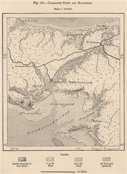 Associate Product Charlottetown and roadstead. Prince Edward Island, Canada 1885 old antique map