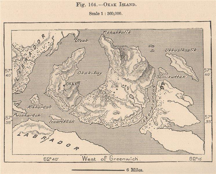 Associate Product Okak Island. Newfoundland, Canada 1885 old antique vintage map plan chart