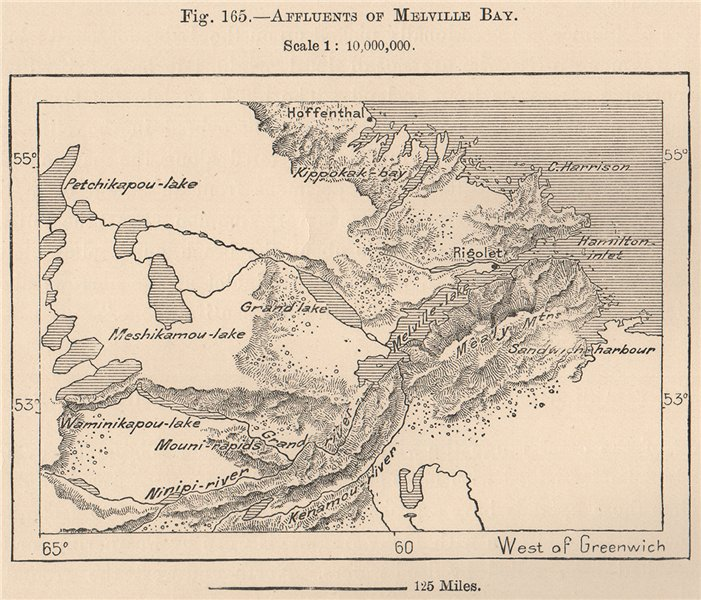 Associate Product Affluents of Lake Melville, Newfoundland. Canada 1885 old antique map chart