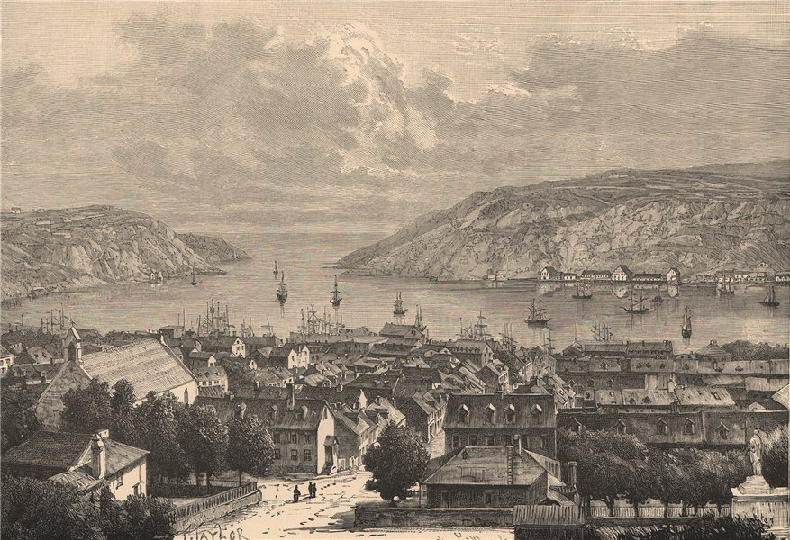 Associate Product General view of St. John's, Newfoundland. Canada 1885 old antique print