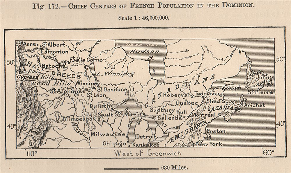 Associate Product Chief centres of French population in the Dominion. Canada 1885 old map