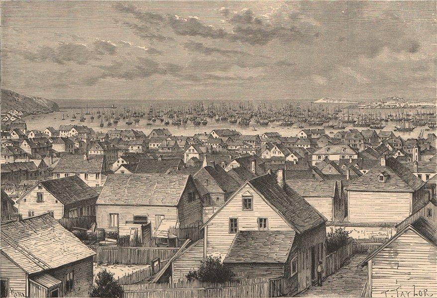 Associate Product Port of St. Pierre, off Newfoundland. Canada. Miquelon 1885 old antique print