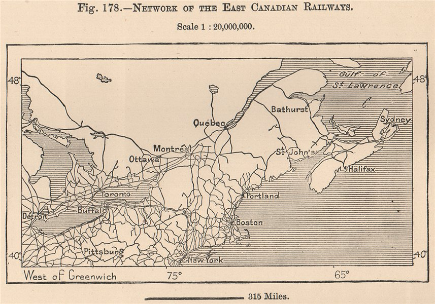 Associate Product Network of the East Canadian Railways. Canada 1885 old antique map plan chart