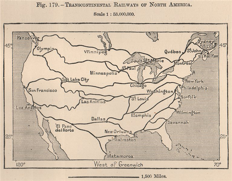 Associate Product Transcontinental Railways of North America. Canada USA 1885 old antique map