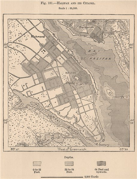 Associate Product Halifax and its Citadel. Canada 1885 old antique vintage map plan chart